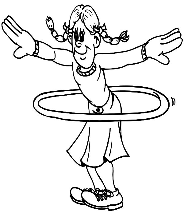 Exercise, : Hoola Hooper Exercise Coloring Pages