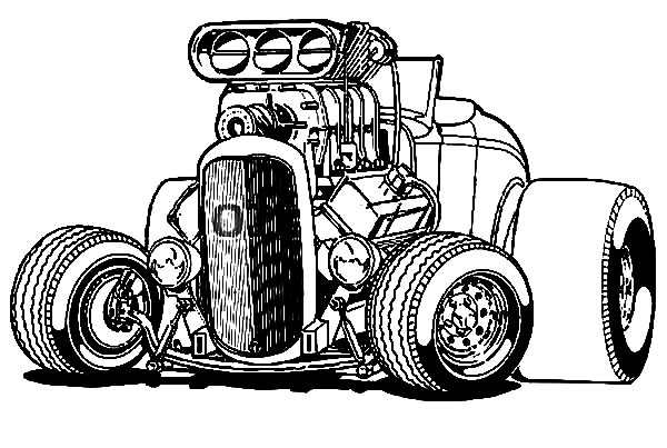 Hot Rod Cars, : Hot Rod Cars Big Wheels Coloring Pages