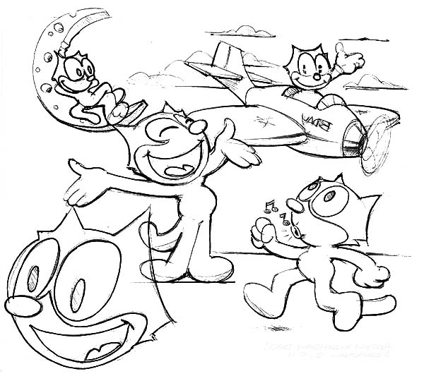 Felix The Cat, : How to Draw Felix the Cat Coloring Pages