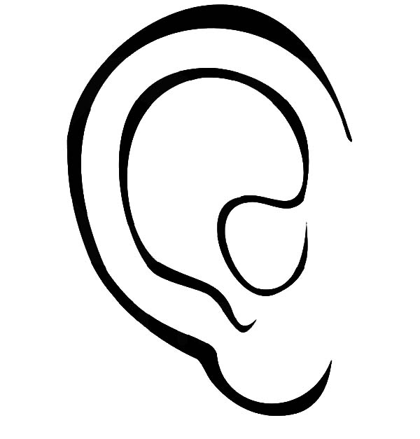 Ear, : Human Ear Coloring Pages