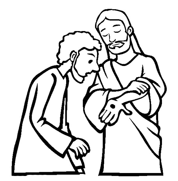 Doubting Thomas, : Jesus Christ Show His Hand to Doubting Thomas Coloring Pages