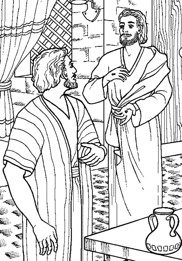 Doubting Thomas, : Jesus Come to Thomas Who Doubting Him Coloring Pages