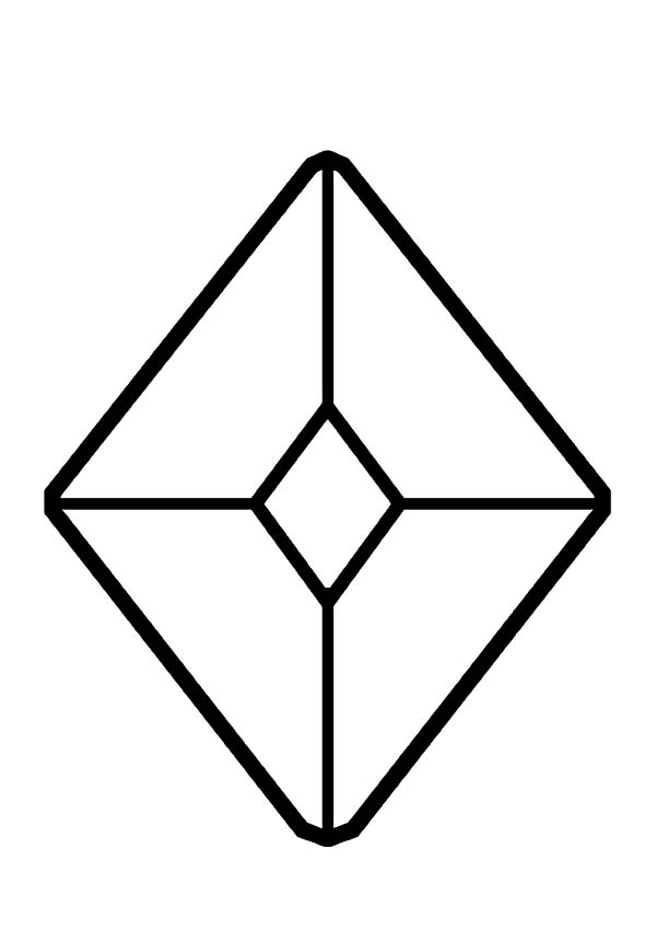 Diamond Shape, : Jewel Diamond Shape Coloring Pages