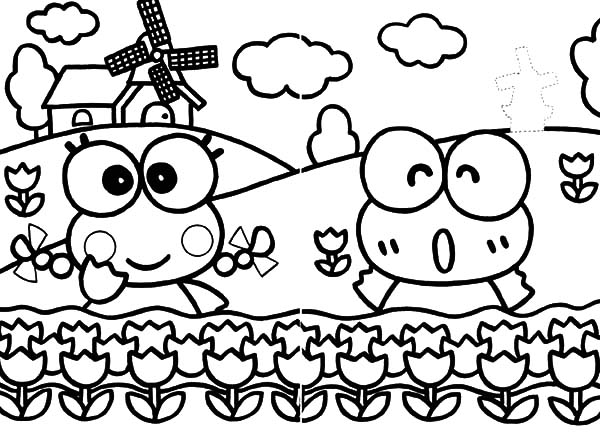 Keroppi, : Kero Kero Keroppi in Holland Coloring Pages