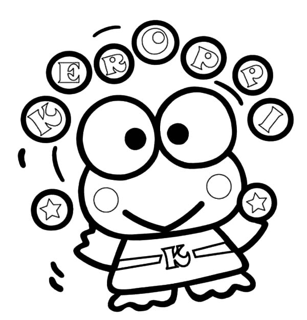 Keroppi, : Keroppi Ball Juggling Coloring Pages