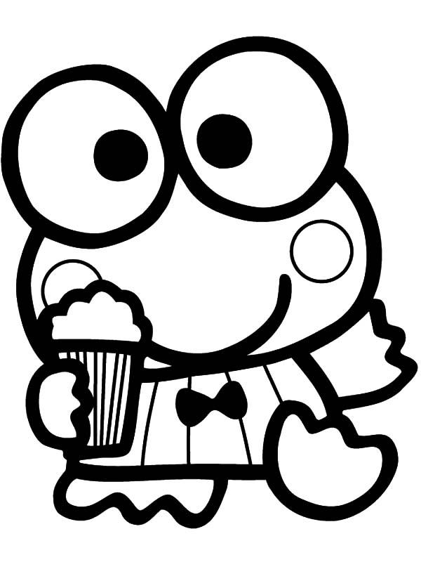 Keroppi, : Keroppi Eat Popcorn Coloring Pages