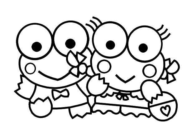 Keroppi, : Keroppi and His Girlfriend Coloring Pages