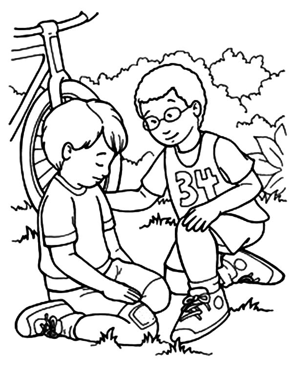 Kindness, : Kindness Helping Friend Falling from Bike Coloring Pages