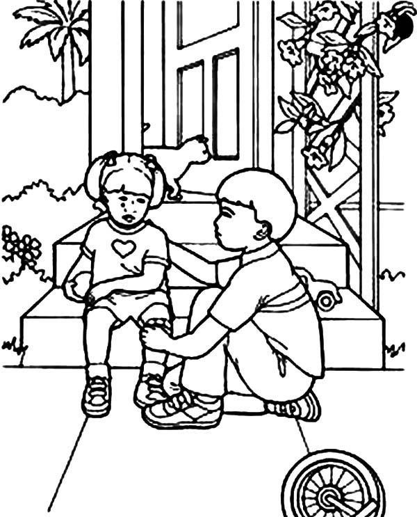 Kindness, : Kindness is Comforting Little Sister Coloring Pages