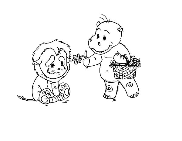 Kindness, : Kindness is Give Flower to Sad Lion Coloring Pages