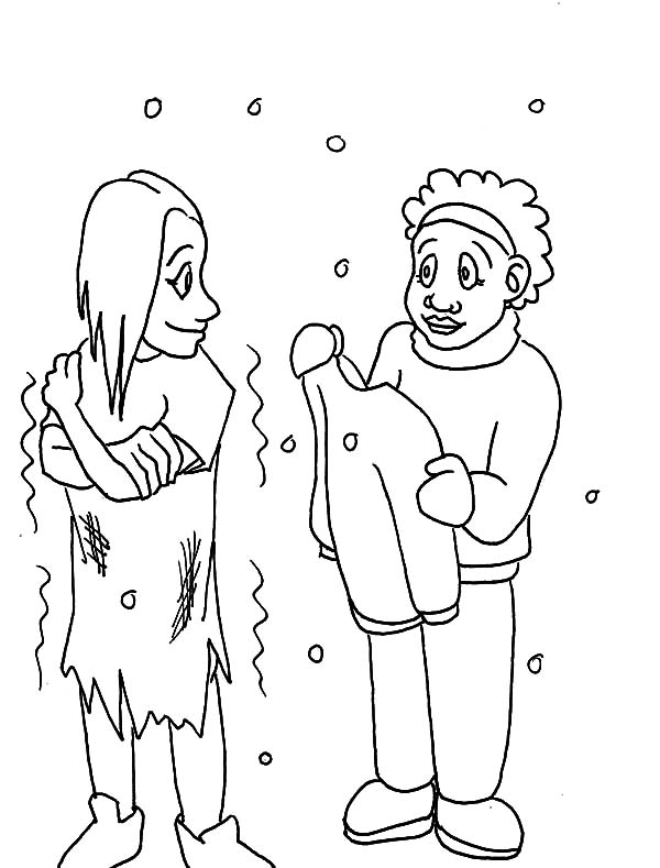 kindness is giving clothes to cold people coloring pages