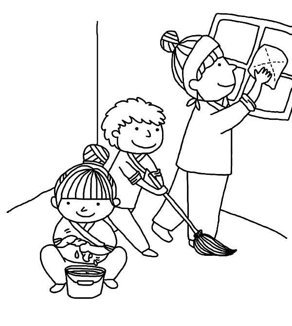 Kindness, : Kindness is Helping Mother Cleaning House Coloring Pages