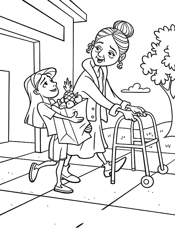 Kindness, : Kindness is Helping Old People to Carry Their Bag Coloring Pages