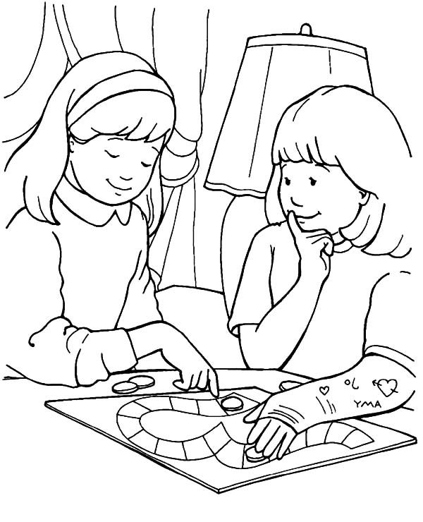 Kindness, : Kindness is Playing with Friend Coloring Pages