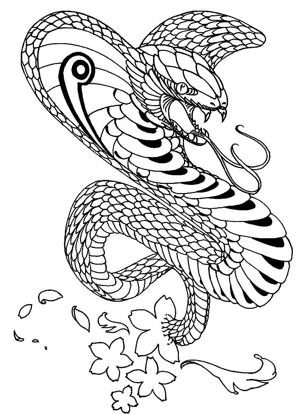 King Cobra, : King Cobra Blossom Coloring Pages