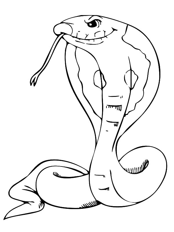King Cobra, : King Cobra Long Tongue Coloring Pages