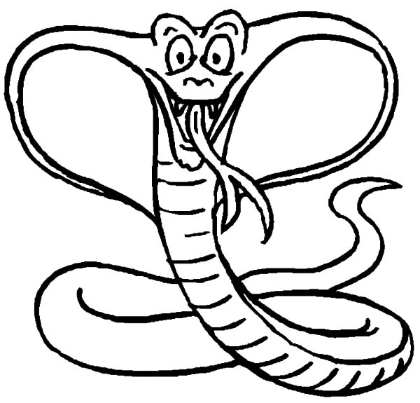 King Cobra, : King Cobra Silly Face Coloring Pages