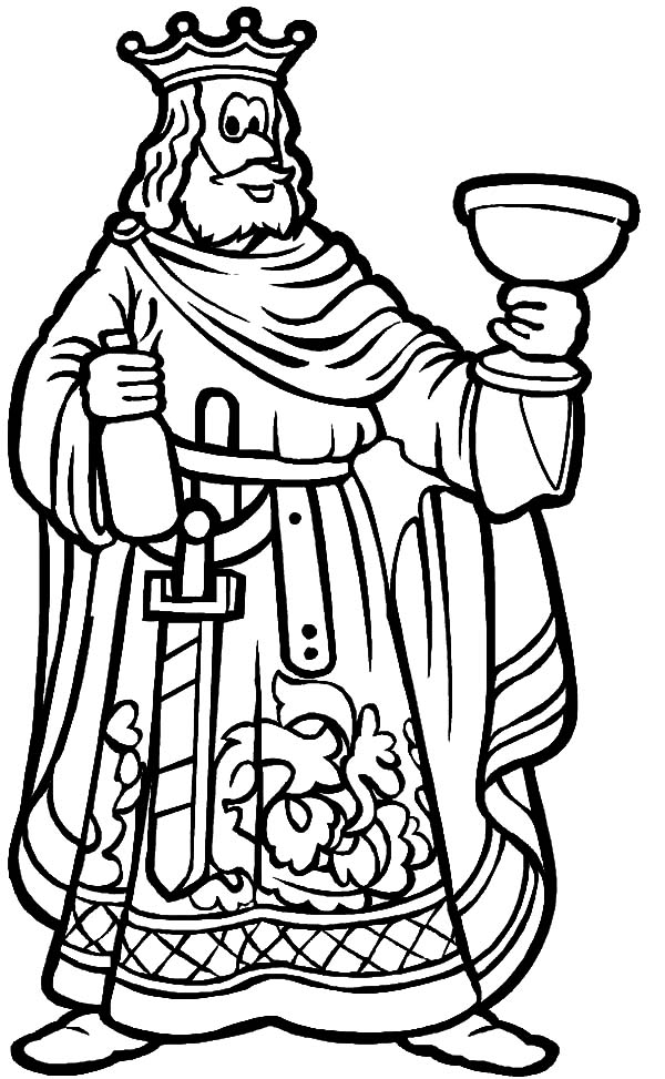 King, : King Lift His Glass Toast Coloring Pages
