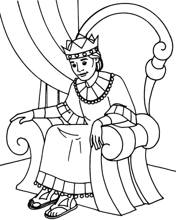King, : King Sitting on His Throne Coloring Pages