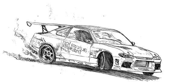 Drifting Cars, : King of Drifting Cars Coloring Pages