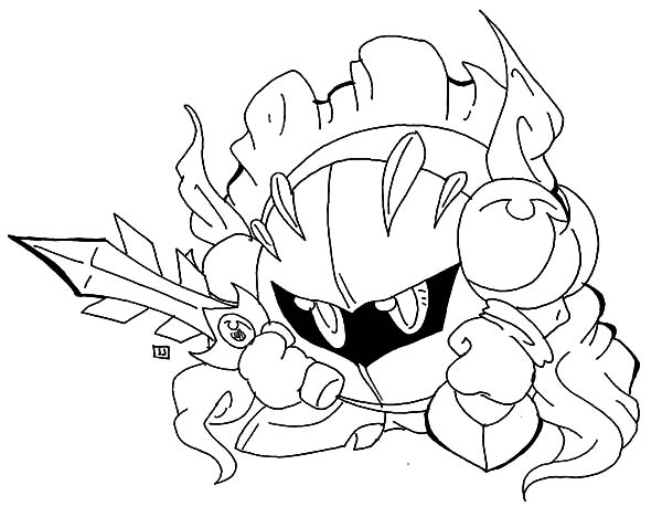 Kirby, : Kirby Armour and Sword Coloring Pages