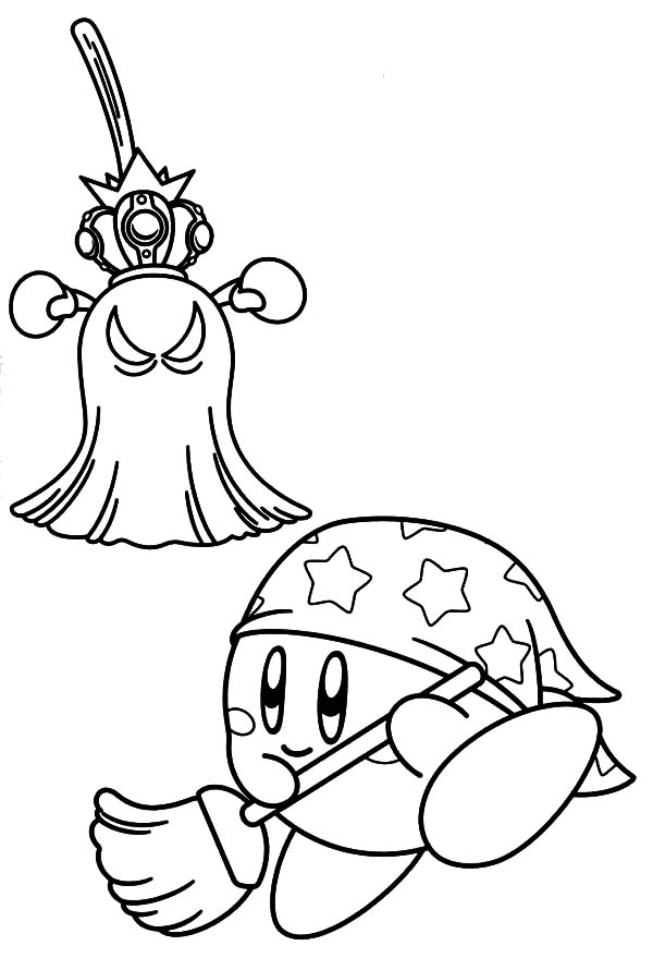 Kirby, : Kirby Fight Against Broom Monster Coloring Pages