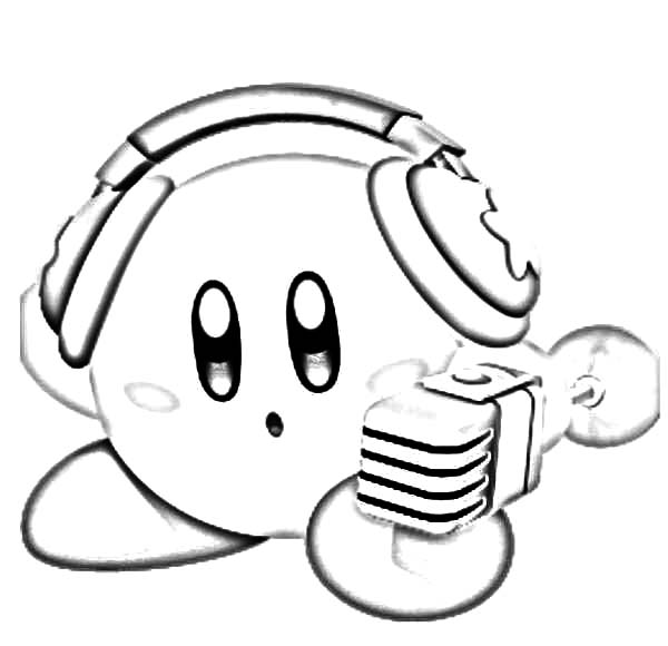 Kirby, : Kirby Listening Music with Headphone Coloring Pages
