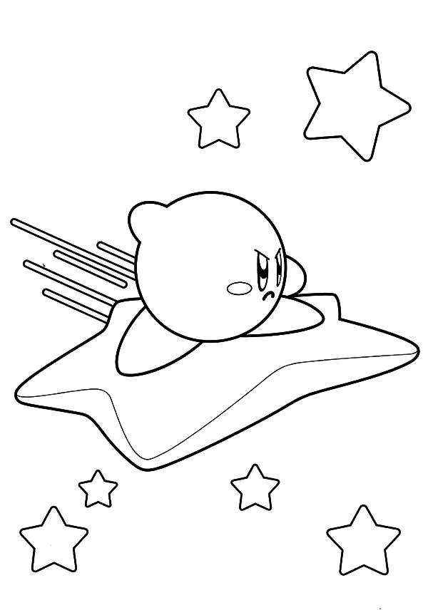 Kirby, : Kirby Riding Star Coloring Pages