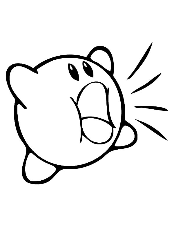 Kirby, : Kirby Shouting Coloring Pages