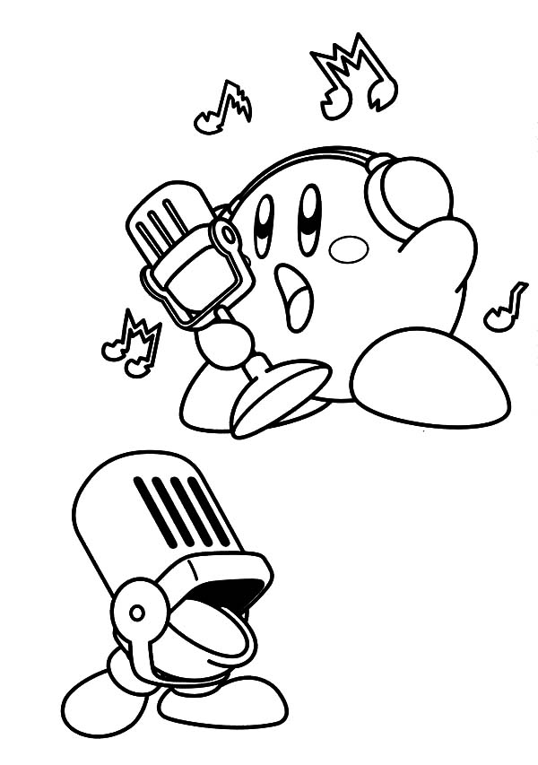 Kirby, : Kirby Singing Coloring Pages