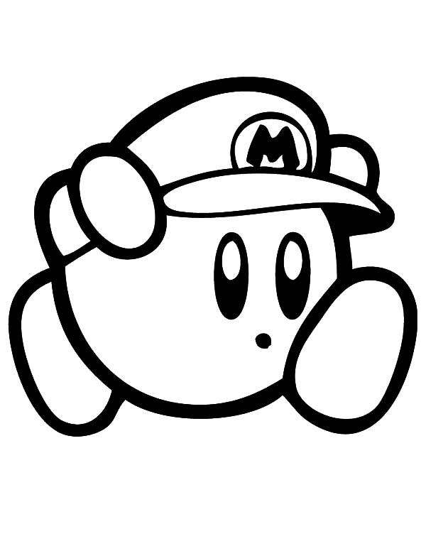 Kirby, : Kirby Super Mario Coloring Pages