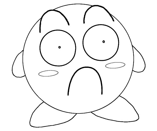 Kirby, : Kirby Surprised Coloring Pages