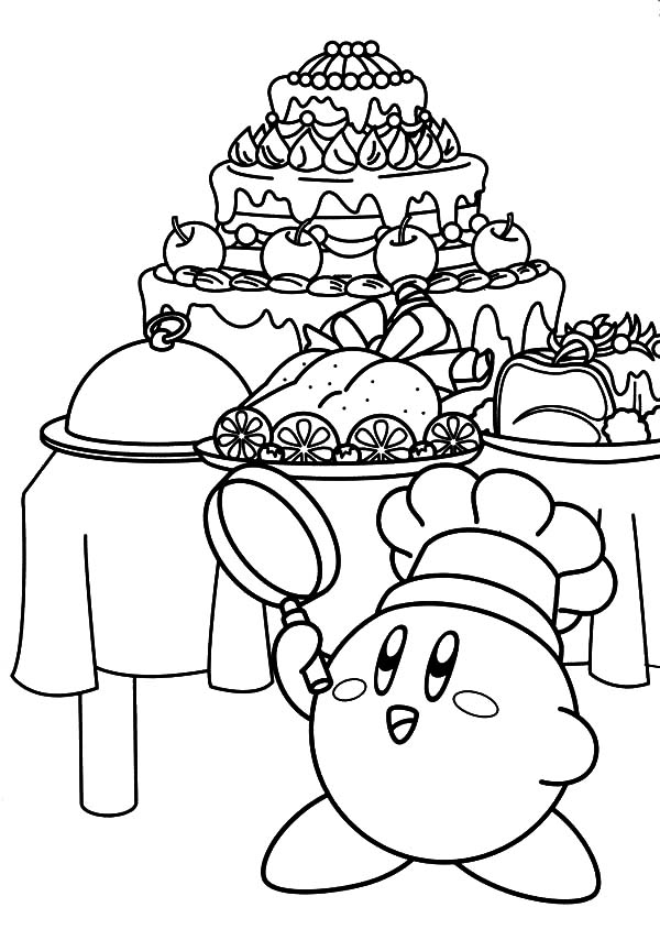 Kirby, : Kirby the Chef Coloring Pages