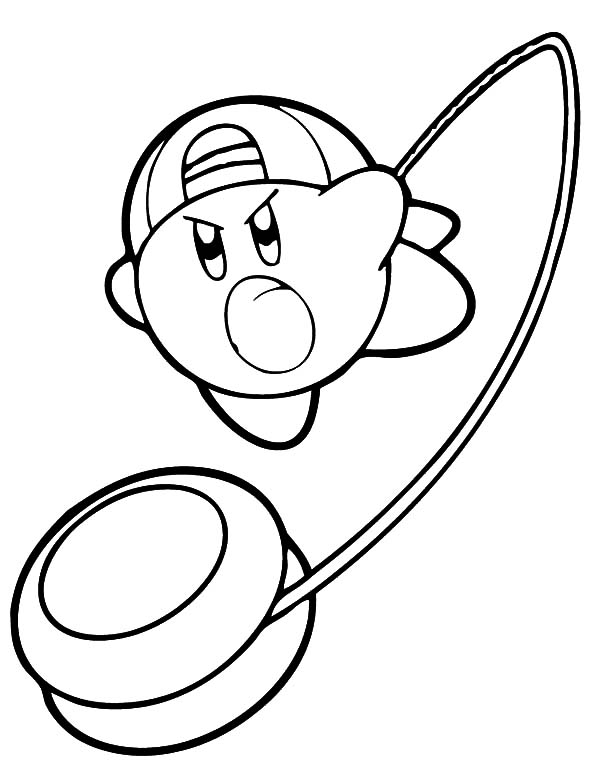 kirby with yo yo weapon coloring pages