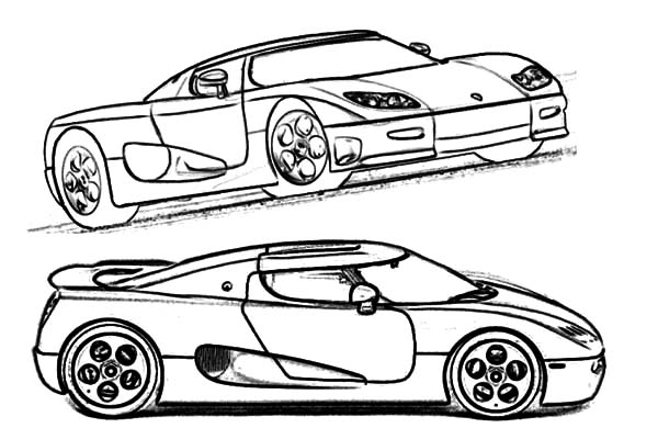 Corvette Cars, : Koenigsegg CC8S Super Corvette Cars Coloring Pages