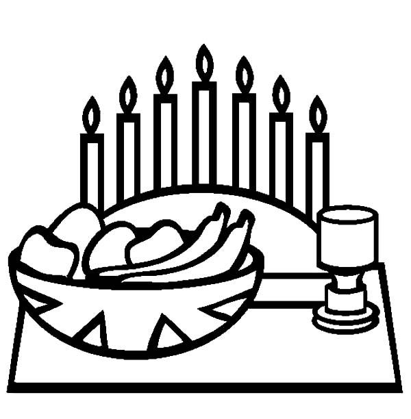 Kinara, : Kwanzaa Day and Kinara Candle Holder Coloring Pages
