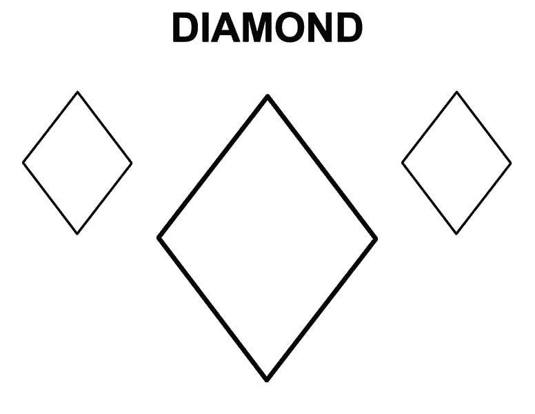Diamond Shape, : Learning to Draw Diamond Shape Coloring Pages