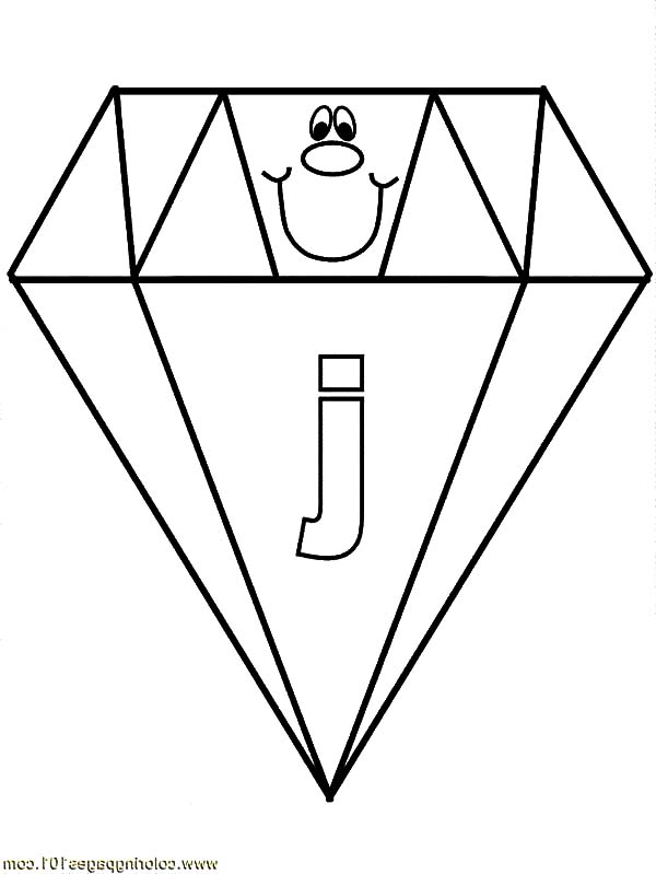 Diamond Shape, : Letter J on Diamond Shape Coloring Pages
