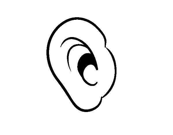 Ear, : Listen with Ear Coloring Pages