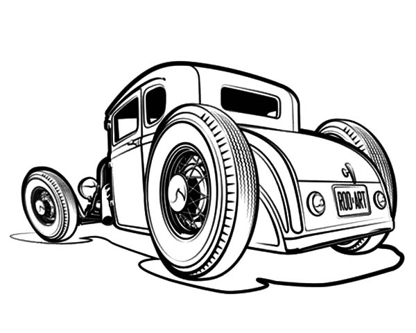 Hot Rod Cars, : Lowboy Deuce Hot Rod Cars Coloring Pages