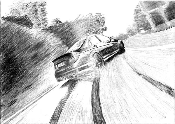 Drifting Cars, : Mercedes C 63 AMG Drifting Cars Coloring Pages