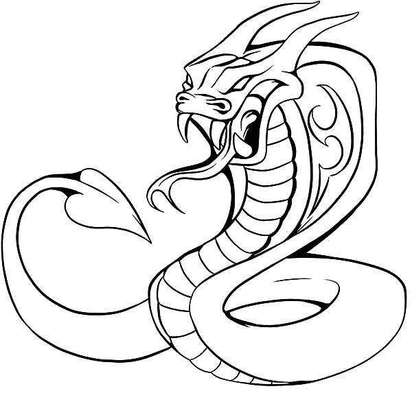 King Cobra, : Monstrous King Cobra Coloring Pages