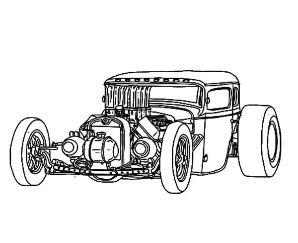 Hot Rod Cars, : Naked Hood Hot Rod Cars Coloring Pages