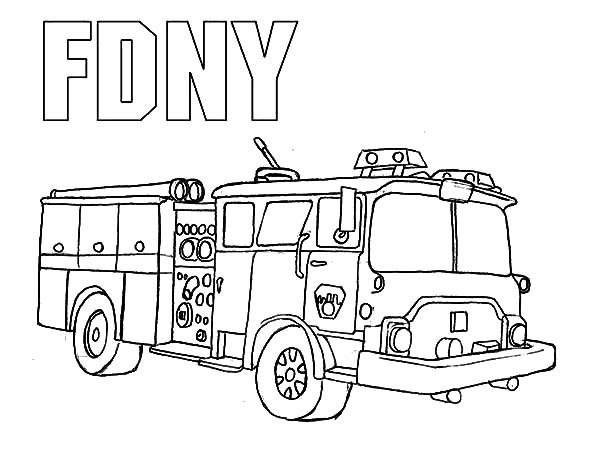 Fire Engine, : New York Fire Department Fire Engine Coloring Pages