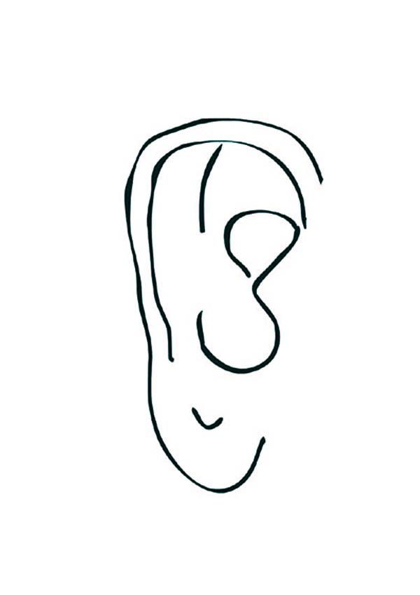 Ear, : Normal Ear Coloring Pages