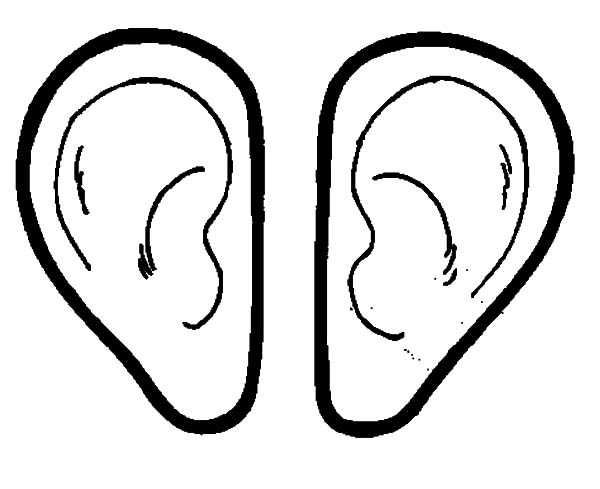 Ear, : Pair of Ear Coloring Pages