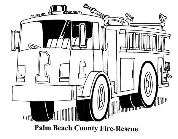 Fire Engine, : Palm Beach County Fire Rescue Fire Engine Coloring Pages