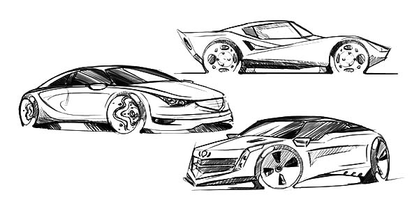 Drifting Cars, : Pencil Sketch of Drifting Cars Coloring Pages