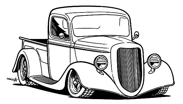 Hot Rod Cars, : Pick Up Hot Rod Cars Coloring Pages