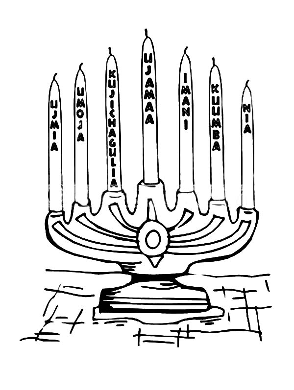 Kinara, : Place for Seven Candle Kinara Coloring Pages